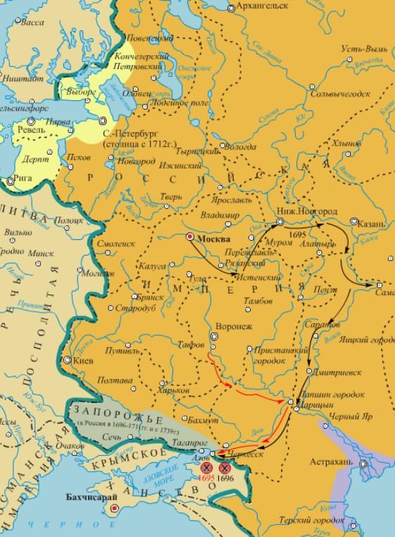 Карта азовских походов Петра I