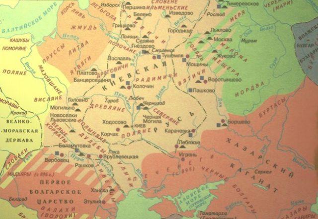 Карта расселения восточных славян