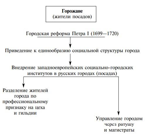 Схема: городская реформа Петра I