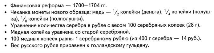 Финансовые реформы Петра I