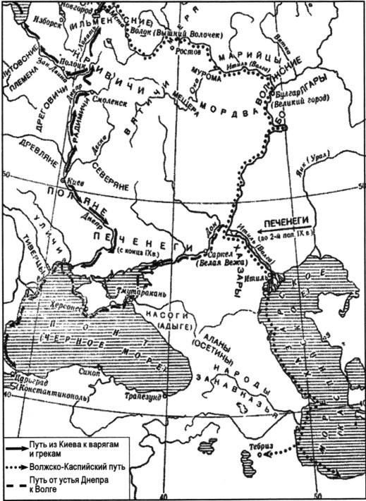 Карта древнерусских торговых путей