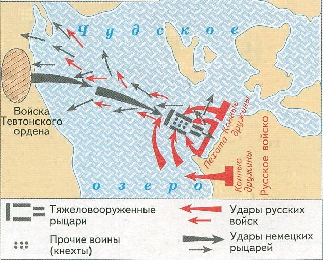 Карта Ледового побоища 1242 года