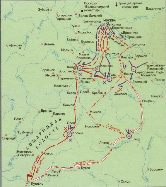 Карта восстания Ивана Болотникова